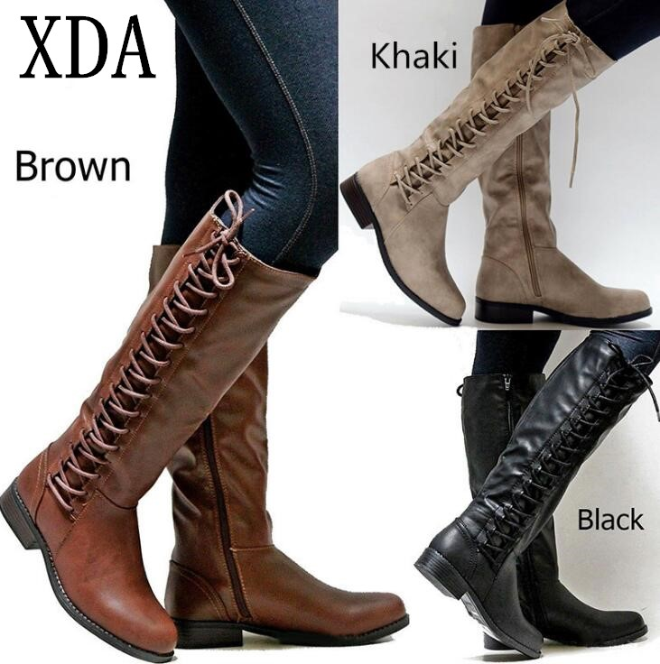 XDA 2019 Brand Women Winter Shoes Genuine Leather Winter long Boots High Quality Knee High Boots Lace Up Motorcycle Boots