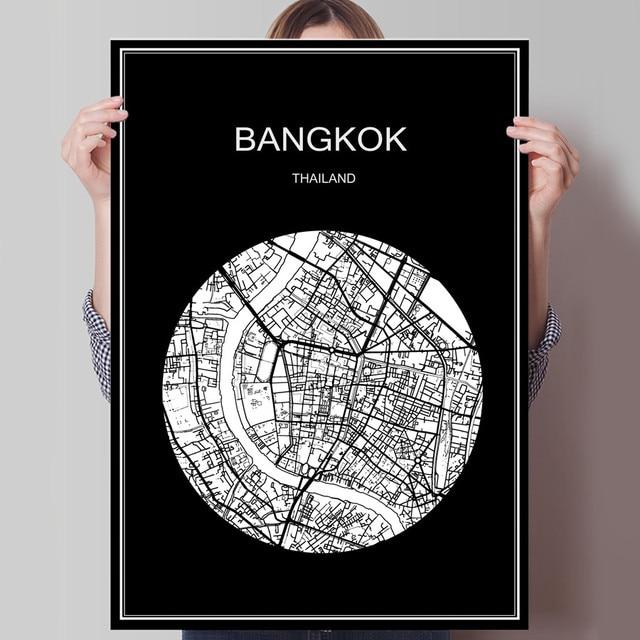 Carte Thailande Imprimer.Monde Ville Carte Bangkok Thailande Imprimer Affiche Imprimer Sur