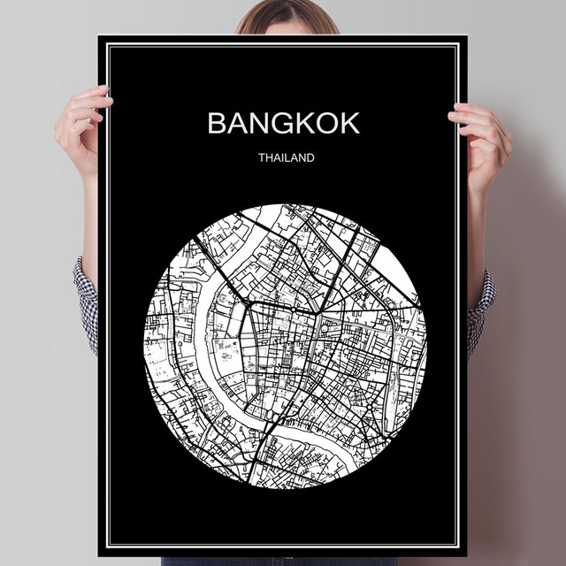 World city map bangkok thailand print poster print on paper or canvas wall sticker for bar