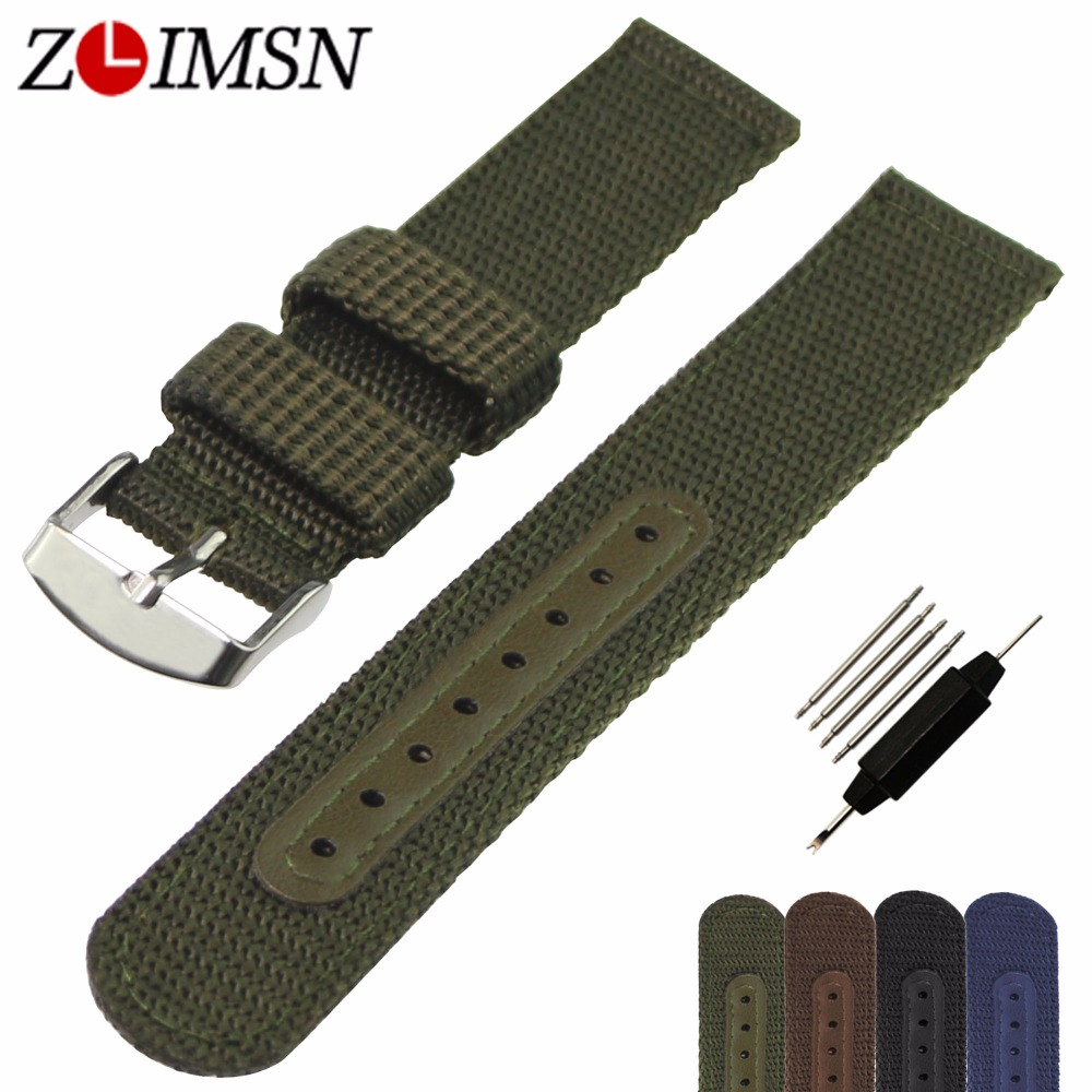 ZLIMSN Watch Band Strap Nylon Mesh Watchbands Women Men Sport Watches Belt Accessories Relojes Hombre 2017 20mm 22mm 24mm Canvas цена и фото