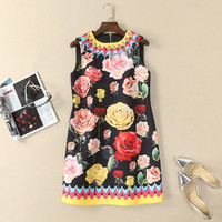 RED ROOSAROSEE Europe And United States Spring Summer 2018 New Foreign Trade Women Clothes Sleeveless Printed Beads Mini Dress