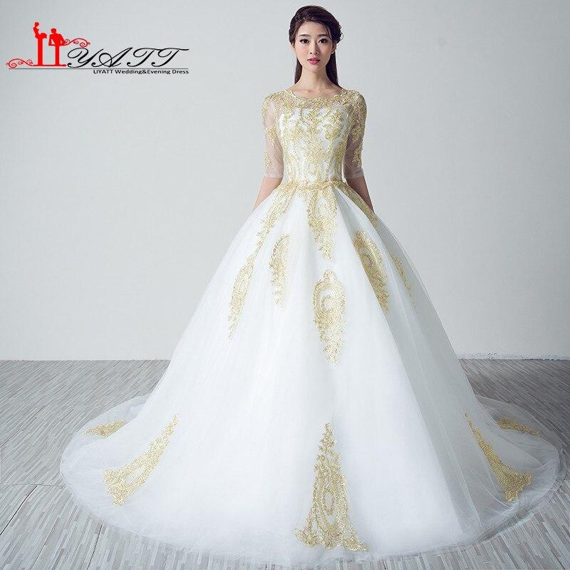 Vestidos De Noiva Gold Lace White Wedding Dresses 2016 Plus Size