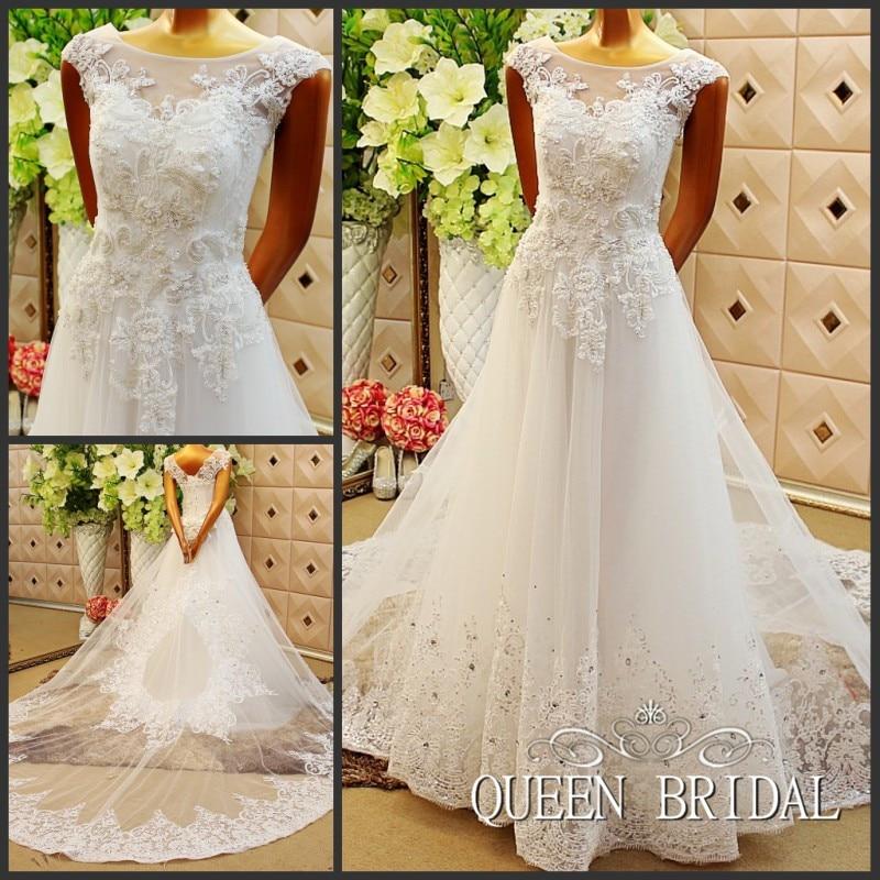 Vintage Lace Applique Long Train A Line Wedding Dress 2017
