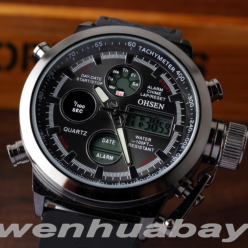 Prix pour OHSEN Unique Vogue Hommes de Natation Numérique LCD Quartz Dual Time Sport En Plein Air Armée Montres Horloge Avec Bracelet En Caoutchouc Reloje Hombre