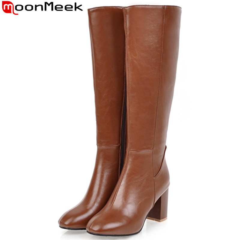 Moonmeek Winter Boots Shoes Square Toe Knee High-Heels Autumn Large-Size Women Fashion