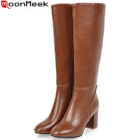 MoonMeek Large size 34 45 fashion autumn winter boots women square toe zip high heels shoes knee high boots women 2019 new