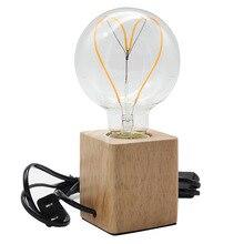 Cube Retro Wooden Table Light Holder Antique Wooden With Switch Wood E27 Desk Lamp Luminaria De Mesa Light 40w bulbs цена 2017