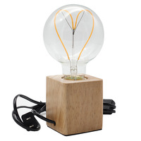 Cube Retro Wooden Table Light Holder Antique Wooden With Switch Wood E27 Desk Lamp Luminaria De Mesa Light 40w bulbs