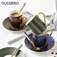 Creative England Bright Starry Sky Ceramic Bone China Mug With Spoon Tray Coffee Milk Scented Black Tea Cup Couples Wedding Gift