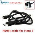 Alta velocidade de 0.95 m Macho para Macho Cabo HDMI para Micro HDMI M/M conversor de cabo para gopro hero 3 plus xiaomi yi sj4000 câmera gp69