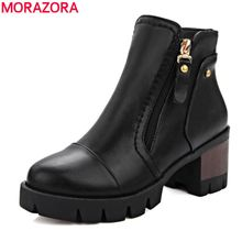 Women boots 2017 hot sale top quality pu ankle boots for ladies med heel round toe platform solid short boots black