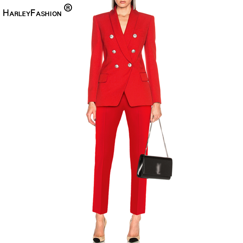 HarleyFashion 2019 New Autumn Design OL Formal Pants Suits Solid Blazer Skinny Trousers Bussiness Lady Outfits Quality Twin Sets