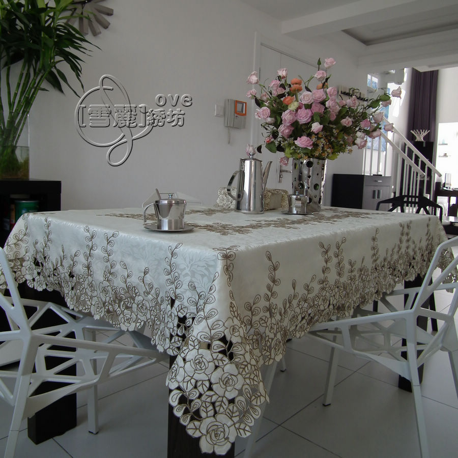 Elegant rustic fashion embroidery fabric dining table cloth big table cloth tablecloth table mat cutout cover towel