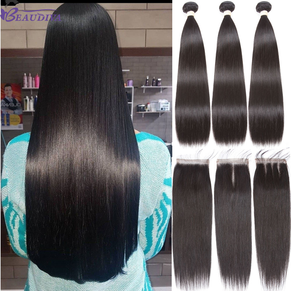 Beaudiva Brazilian Straight Hair Bundles With Closure Human Hair Bundles With Lace Closure With Baby Hair