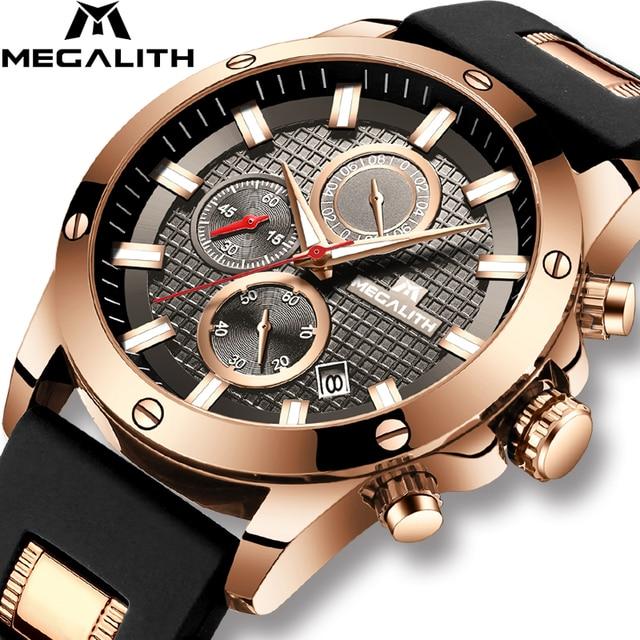 MEGALITH אופנה הכרונוגרף גברים שעונים תאריך סיליקון רצועת ספורט קוורץ שעון גברים זוהר עמיד למים שעון Relogio Masculino