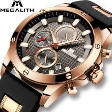 Megalith 패션 크로노 그래프 남성 시계 날짜 실리콘 스트랩 스포츠 쿼츠 시계 남성 방수 시계 relogio masculino