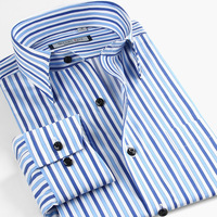 Smart Five Striped Shirts Men Long Sleeve Cotton Slim Fit Casual Shirt Imported Clothing Camisa Masculina