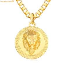 HUAIBEISHIPIN Hip Hop Big Lion Head Pendant & Necklace Animal King Vintage 24K Gold Color Hiphop Chain For Men/Women Jewelry