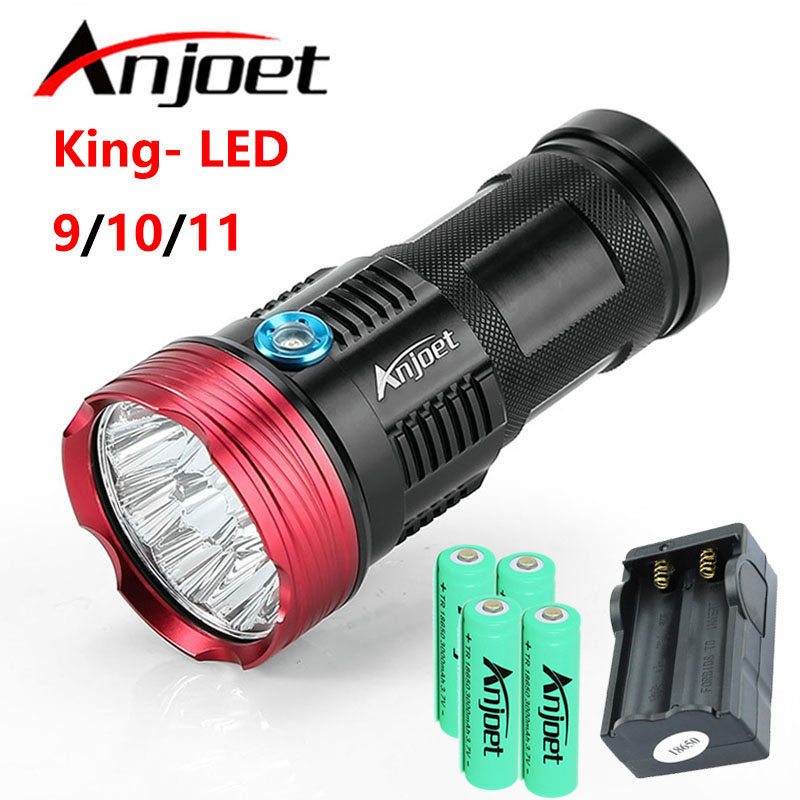 Anjoet Hunting Flashlight King 9/10/11-T6 LED Torch waterproof lantern For Camping Work Lamp light +4X 18650 Battery+Charger 3800 lumens cree xm l t6 5 modes led tactical flashlight torch waterproof lamp torch hunting flash light lantern for camping z93