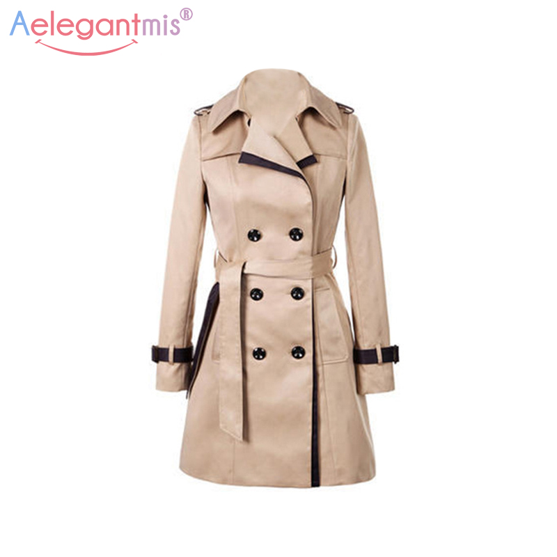 Aelegantmis Autumn Women Double Breasted Long Trench Coat Khaki With Belt Classic Casual Office Lady Business Outwear Fall