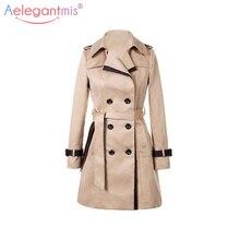 a4b552965367 Aelegantmis 2018 Automne Femmes Double Breasted Longue trench-coat Kaki  Avec Ceinture Classique décontracté Bureau Dame vêtement.