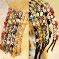 Faixas de Cabelo de cristal Headband Banda Alice Espumantes Contas de Vidro Estilo Vintage Nova