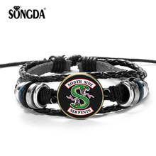 SONGDA Riverdale Bracelet Casual Personality American TV Riverdale Patterns Glass Cabochon Charms Beaded Punk Leather Bracelet(China)