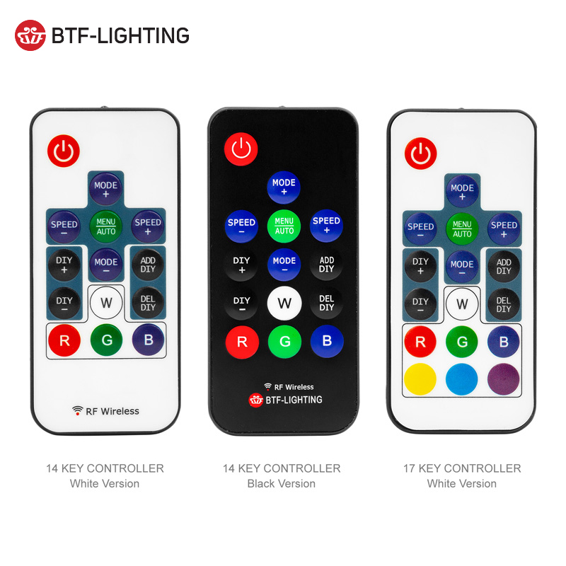 14key / 17key Mini-RGB-Pixel-Controller DC5V-24V WS2811 / WS2812B LED-Fernbedienung RF Wireless Controller 3pin Digital Strip Light Tape