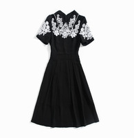 European and American women's clothing 2019 summer new style The embroidery Fashionable black dress short sleeves and lapels