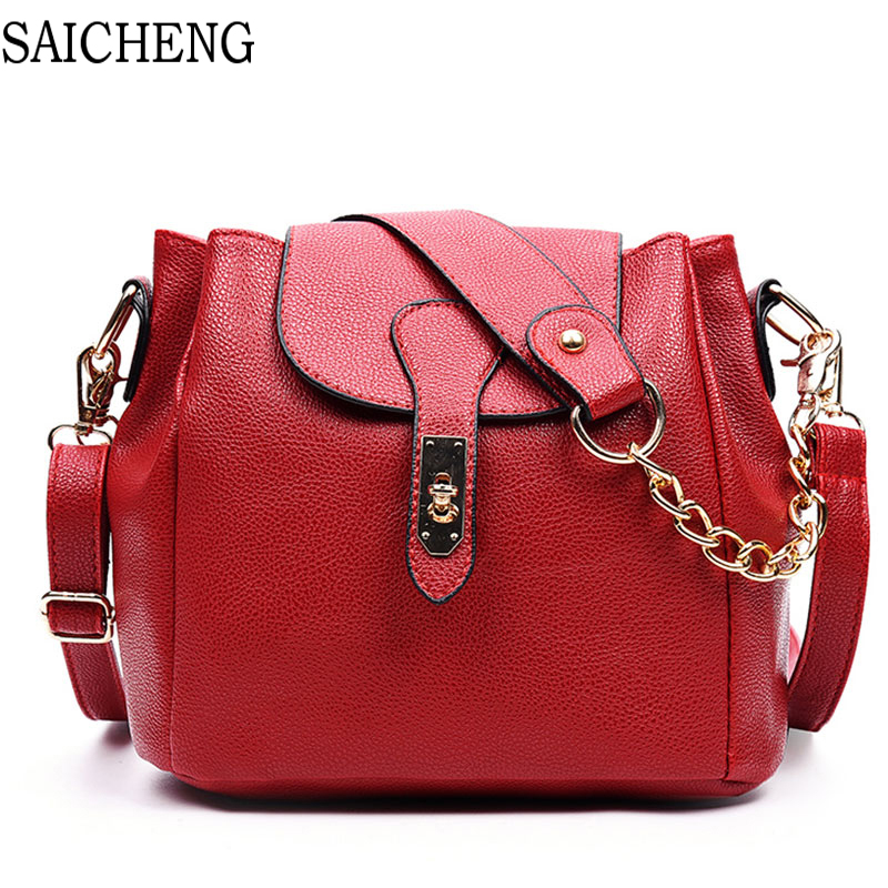 SAICHENG Large Capacity Women Messenger Bags Ladies shoulder Bag 2017 Fashion Chains All match Bucket Women