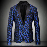 Blazer Men 2018 Bright Blue Lips Suit Jacket Slim Fit Blazers For Men Wedding Party Prom Stage Costumes For Singers Mens 8621