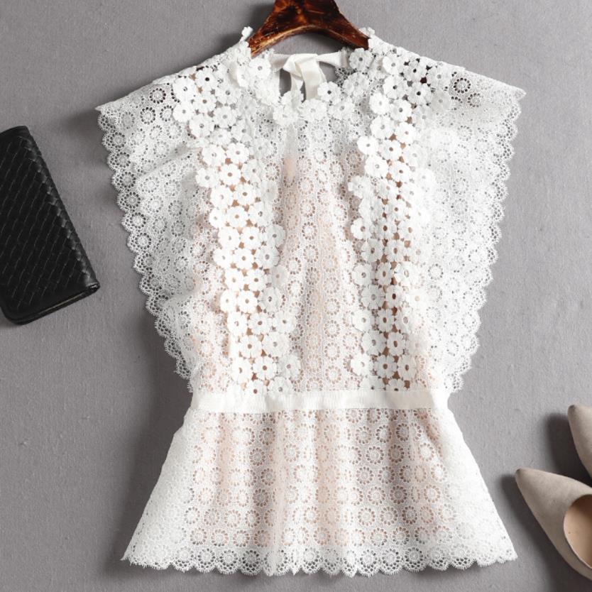 Dentelle Blouse chemise femmes d'été Style Blouses 2019 nouvelle mode sans manches solide évider blanc noir dentelle haut