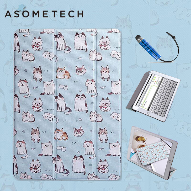 Tablets Case For iPad Mini 1 2 34 Lovely Cute Cat Painted Stand Back capa For iPad Air 1 2 Folio Cat Lovers Wake UP Sleep Fundas floveme aluminum tablets stand case for ipad 2 3 4 air 2 mini for iphone 5s 6 6s 7 plus for galaxy s7 edge flexible angle adjust