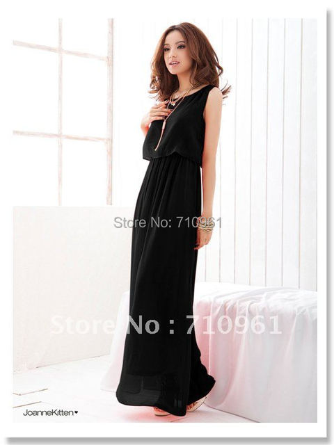 Dresses Vestido Sexy Dress Natural None Hot Sell 2015 New Women Bohenmia Wave Strap Princess Chiffon Long Maxi Dress Four Colors