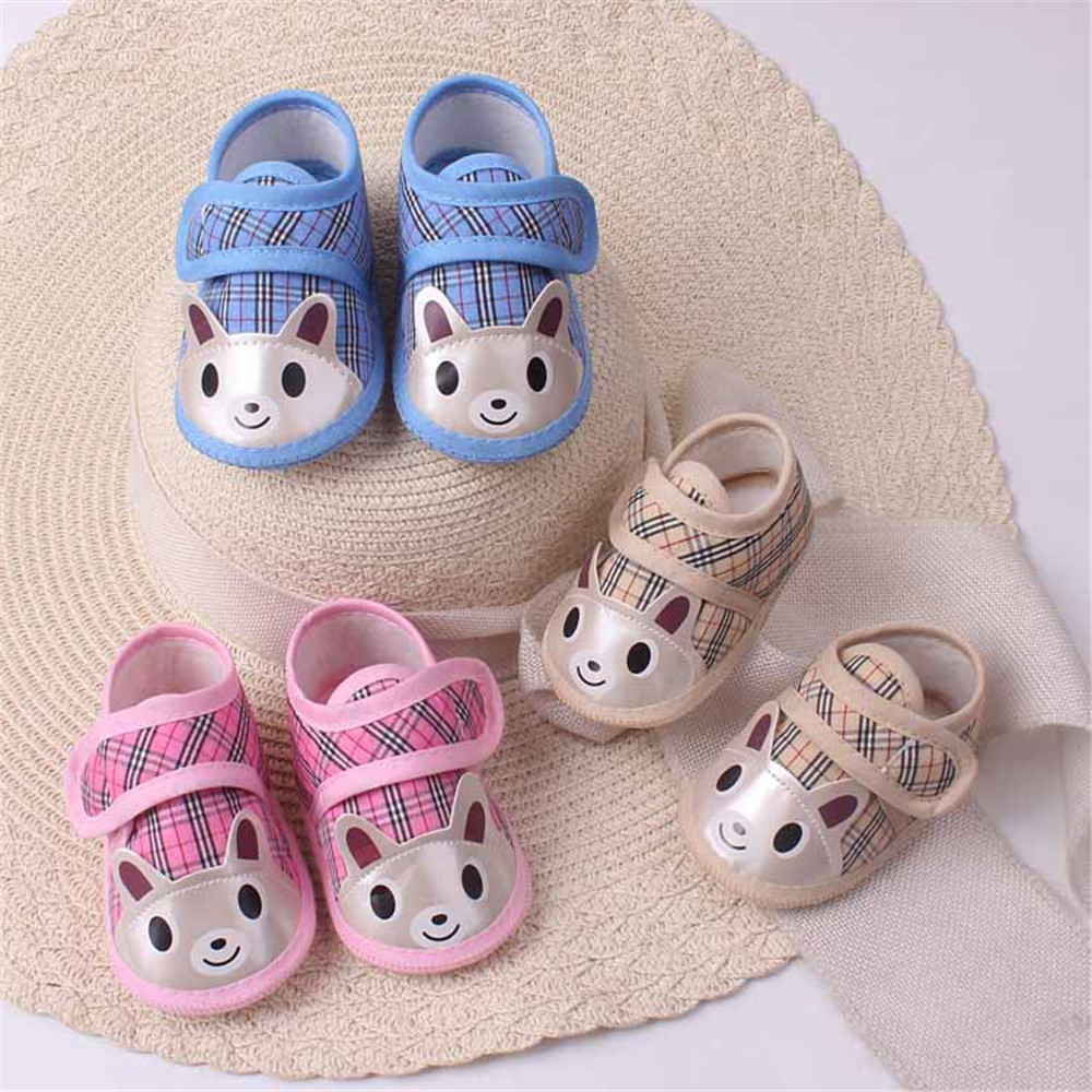 Soft Sole Cotton Baby Shoes Newborn Girls Boys Plaid Cartoon Stitching First Walkers Toddler 112
