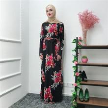 Long Robe Gowns Jubah Dubai Middle East Muslim Print Floral Maxi Dress Cardigan Abaya Full Kimono Ramadan Arab Islamic Prayer muslim open abaya dress elegant cotten linen lace cardigan long robe kimono jubah ramadan arabic turkish islamic prayer clothing