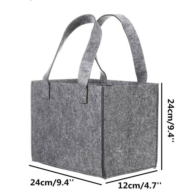 Reusable Fashion Felt Bag Wine Holder Beer Bottle Shopping Tote Bag Bottle Carrier with 6 Bottles Divider Washable Grey 6
