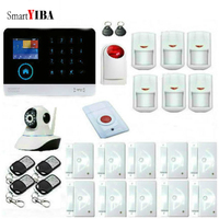 SmartYIBA Smart Voice Home Security Burglar House Anti Theft Alarm System Wireless WIFI Strobe Siren& Panic Button& IP Camera