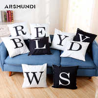 Letter Vintage Cushion Cover Polyester Fashion Home use Pillow cover Living room Bed Sofa Cushion Cover Black White