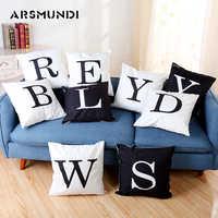 Lettre Vintage housse de coussin Polyester mode usage domestique taie d'oreiller salon lit canapé housse de coussin noir blanc