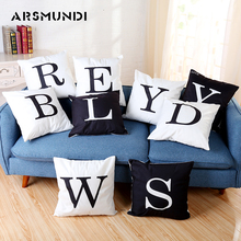 Letter Vintage Cushion Cover Polyester Fashion Home use Pillow cover Living room Bed Sofa Black White