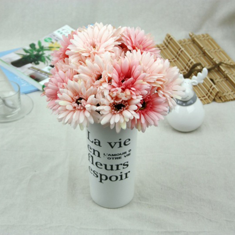 Online Shop 1pcs 7 Heads European Floral Artificial Daisy Silk Flower Bouquet Spring For Wedding Decoration Flowers 7C