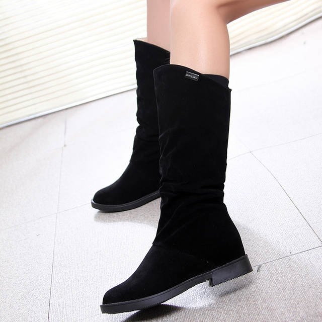 c054f6db9e Autumn Winter Women's Boots Matte Flock Boots For Female Ladies Height  Increase Low Heel Shoes Women
