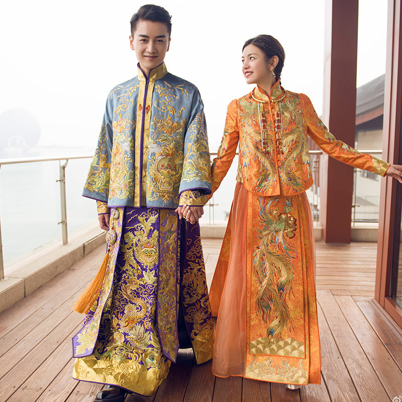 Bridal Groom Gown Chinese Style Show Wear China Weddin Dress Of The Bride Elegant Toast  ...