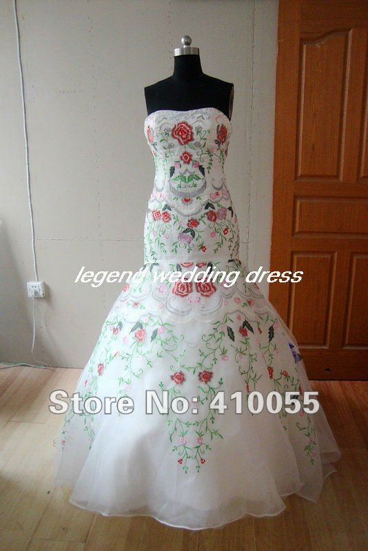 Aliexpress.com : Buy A slew of colored embroidery off white bride ...