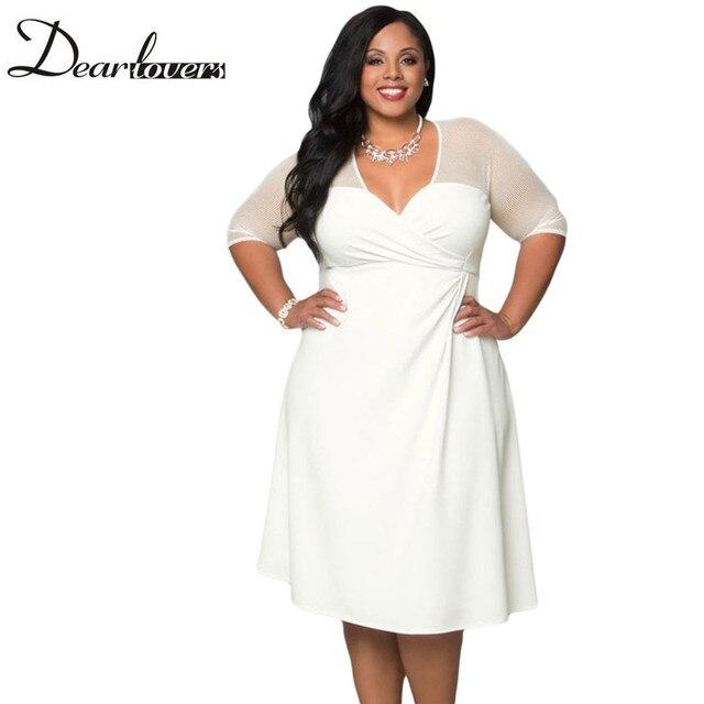 Dear lover Черный V Шеи Половина Рукава Сахар и Специи Плюс размер Dress LC60671 Весной 2017 XXL Большой Размер Женщин Одежда Для партия