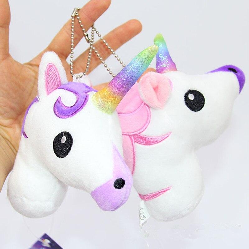 1pc 13CM Cute Unicorn Horse Staffed Animal Horse Pendant Kids Love Doll Fashion Key Chains Kawaii Gift For Girls Children