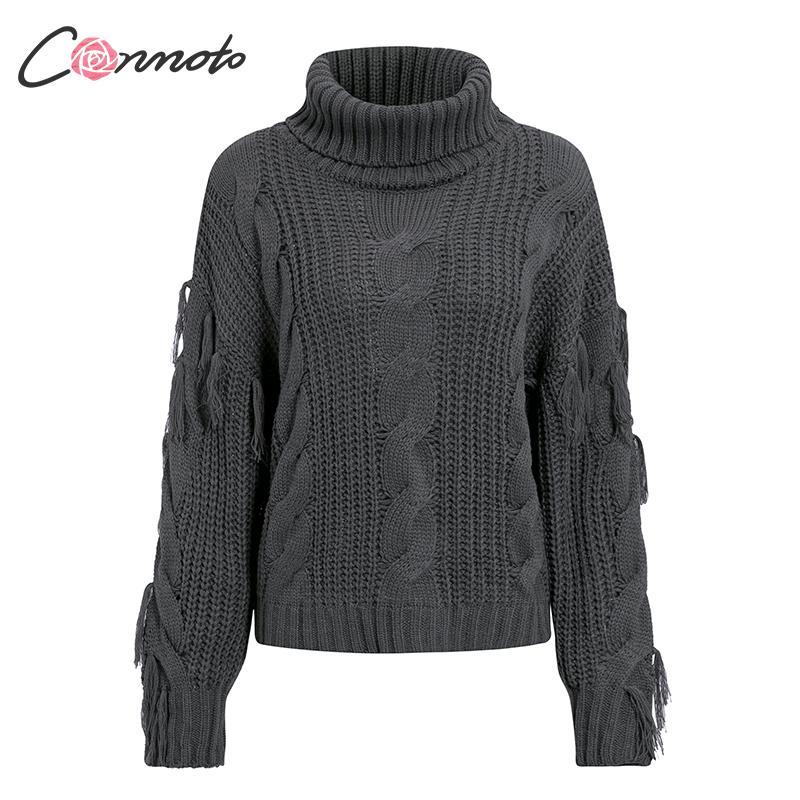 Conmoto Solid Deep Gray Casual Women Sweaters 19 Winter Turtleneck Knitwear Sweater Oversized Tassel Knitted Pullovers Jumpers 12