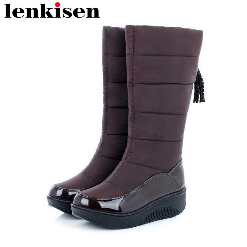 d98a4cc58 Del Botas Abajo Estilo Cálido Slip Pie L39 Invierno Zapatos Fondo Dedo  Negro Británico Pu Nieve ...