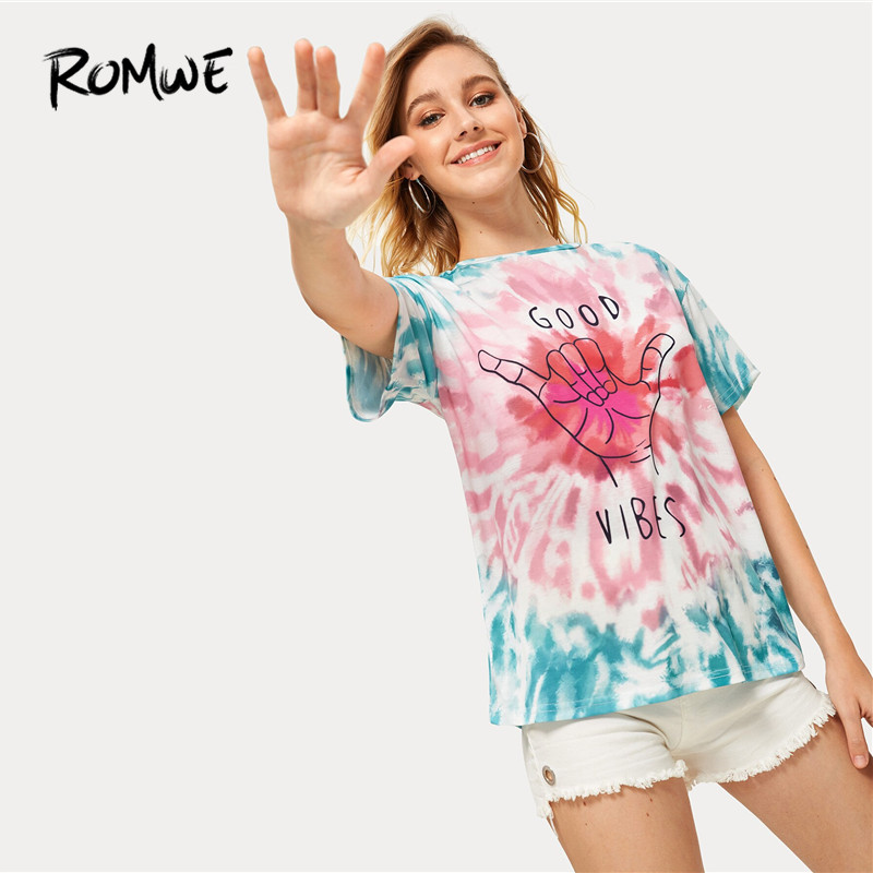 ROMWE Graphic Letter Print Fashion Multicolor Tie Dye Streetwear Women Top Tees Round Neck Short Sleeve Stretchy Summer T Shirts